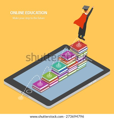 Online Education Flat Isometric Concept. Student Making His Educational Steps By Book Stacks On Tablet. - stock vector