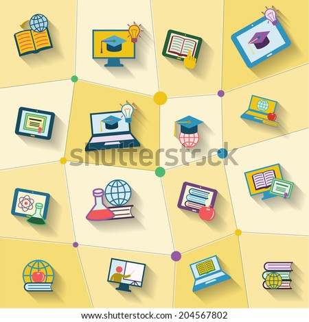 Online education global studying decorative icons set isolated vector illustration - stock vector