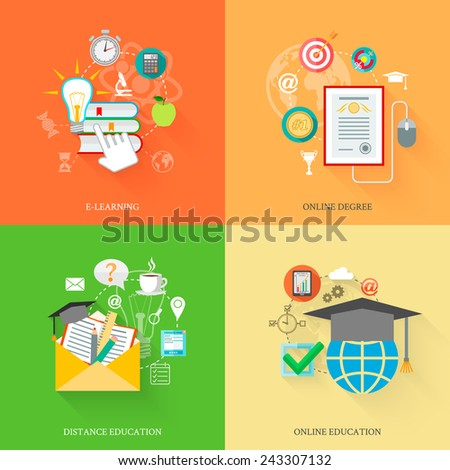 Online education icons flat set with e-learning distance degree isolated vector illustration - stock vector