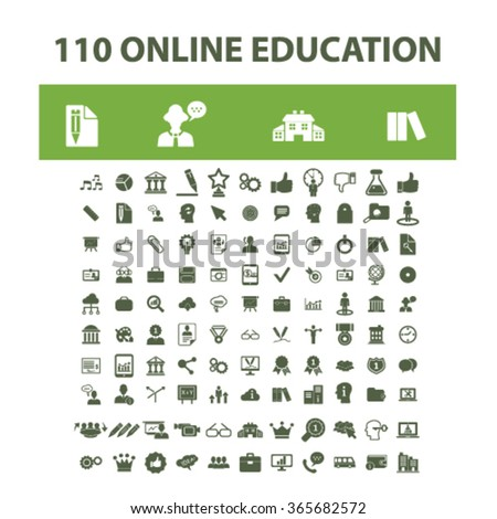 Online education, learning, training, education concept, business education, study, school  icons, signs vector concept set for infographics, mobile, website, application  - stock vector