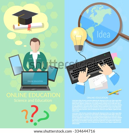 Online education student studying distance tutorials  university college lecturer lessons diploma and laptop vector banners - stock vector