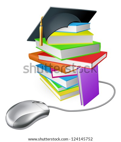 Online education, training or learning concept, a computer mouse connected to a stack of books with graduation cap on it. - stock vector