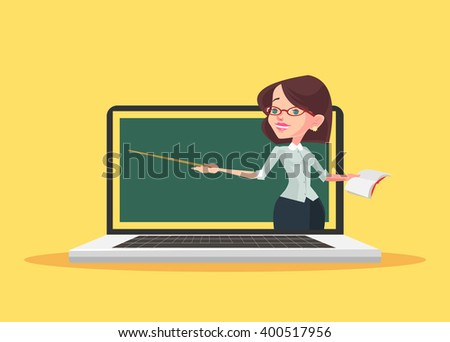 Online education. Vector flat illustration - stock vector