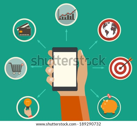 Online finance app, financial analytics tracking on a digital device - concept in flat style - stock vector