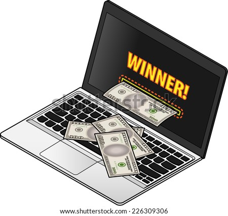 """Online gambling / scam concept. Laptop computer with """"winner!"""" on the screen and a slot dispensing bank notes. - stock vector"""