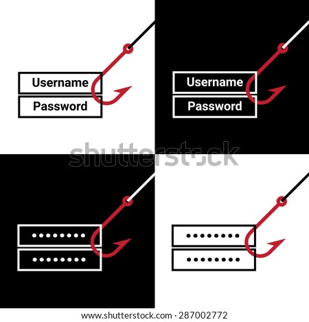 Online hacking or phishing a login and password internet security concept - stock vector