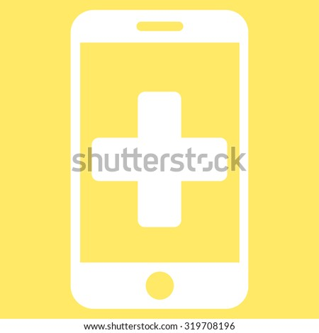 Online Help vector icon. Style is flat symbol, white color, rounded angles, yellow background.