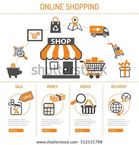 Online Internet Shopping Concept Two Color Vector de stock (libre de ...