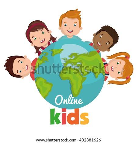 online kids design  - stock vector