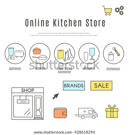 Online Kitchen Store Web Design Template. Set Of Kitchen Appliances, Stuff  And Cookware Icons Part 67