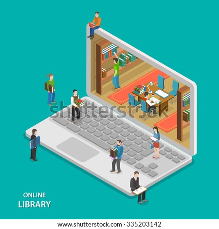 Online library flat isometric vector concept. People near and inside library that looks like laptop. Education, reading, learning online. - stock vector