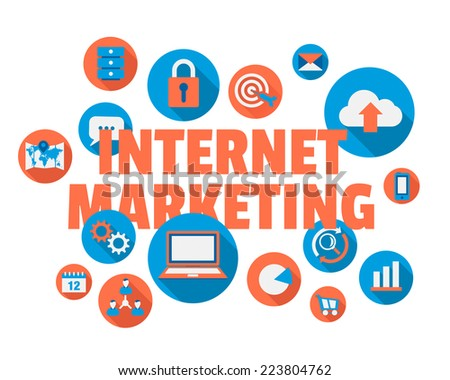 Online marketing concept illustration text and icons - stock vector