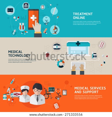Online medical diagnosis and treatment. Flat design concepts for web banners and printed materials and promotional materials. - stock vector