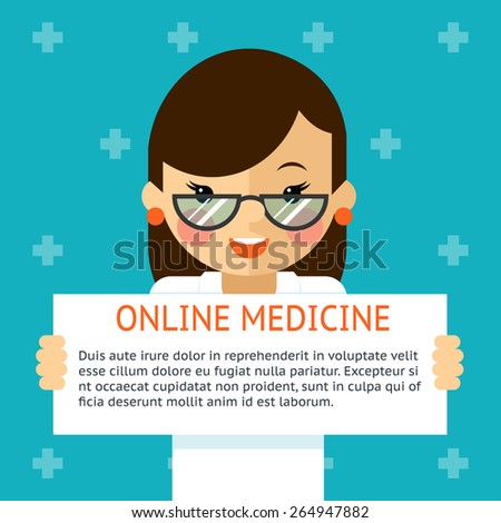 Online medicine banner. Woman doctor shows text sign. Health and diagnosis, hospital. Vector illustration - stock vector