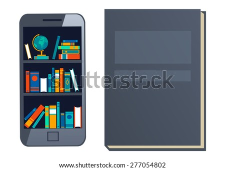 Online mobile library creative modern design web isometric concept. Library shelf in smart phone tablet. World knowledge in pocket. Phone and library. Books and knowledge. Vector flat illustration - stock vector