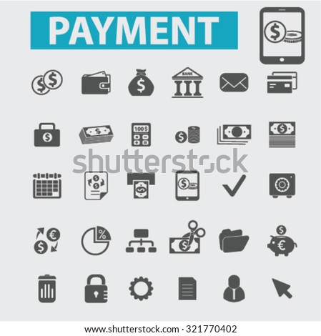 online, mobile payment icons - stock vector