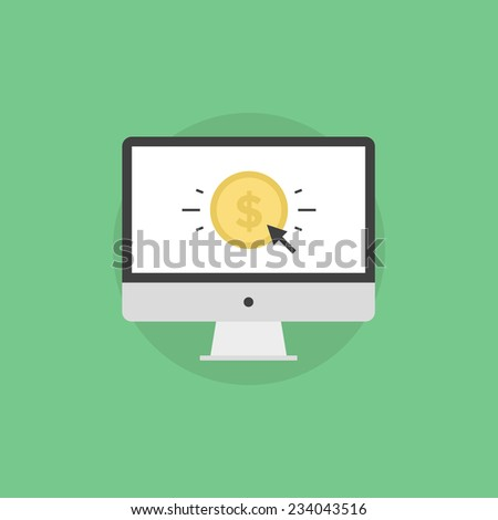 Online money making, success internet business, e-commerce payment, finance transfer and transaction. Flat icon modern design style vector illustration concept. - stock vector