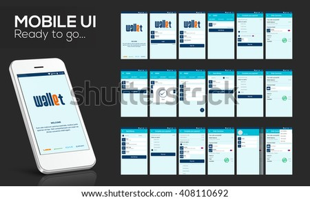 Online Money Transfer UI, UX and GUI template layout with flat web icons including Login, Sign-Up, Add Money, Complete Your Payment, Order Summary, Ask and Send Money Screens for Mobile Apps.. - stock vector