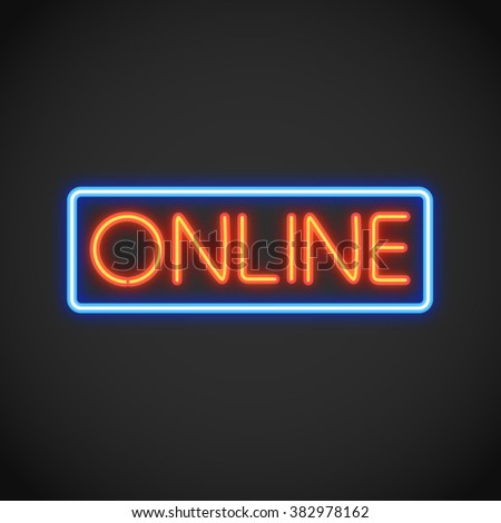 Online Neon Sign - stock vector
