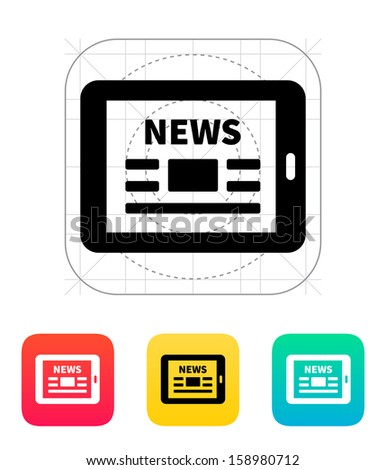 Online news. Tablet PC newspaper icon. Vector illustration. - stock vector