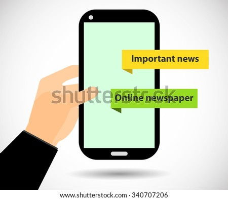 Online Newspaper. Smartphone in hand. Important news. Tablet PC.  - stock vector