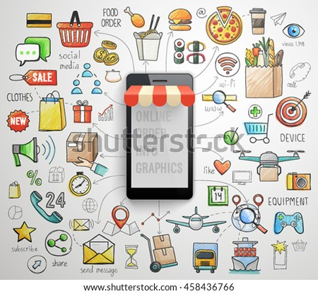 Online Order Smart Phone infographics - hand drawn style. Vector illustration. - stock vector
