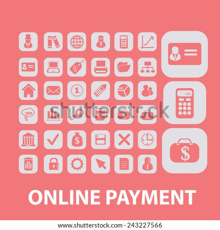 online payment, atm, online-money icons, signs, illustrations, silhouettes set, vector - stock vector