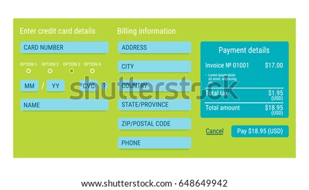Online Payment Form Online Digital Invoice Stock Vector