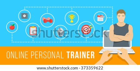 Online personal fitness trainer infographic vector illustration. Concept of web training with virtual instructor who gives advice on diet, workouts plan, healthy nutrition, weight loss, goals setting - stock vector