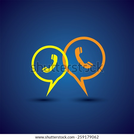 online phone support & phone chat - concept vector line icon. This chat or talk symbol with receiver symbol also represents  business communication, voice support, customer interaction - stock vector