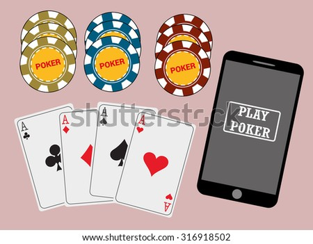 Online poker app on tablet touch screen, smart phone, cards and chips , vector - stock vector
