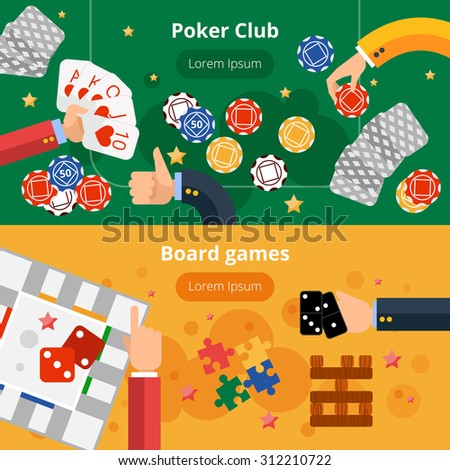 Online poker club and board gambling games interactive webpage two flat banners design abstract isolated vector illustration - stock vector