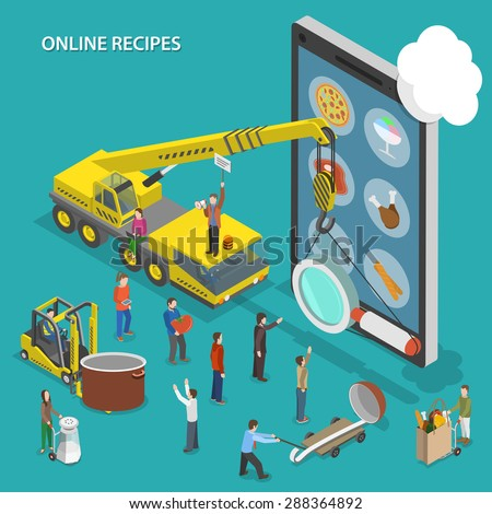Online recipes flat isometric vector conceptual illustration. People are going to cook some dish and looking its recipe using mobile device. - stock vector