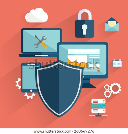 online safety, data protection, secure connection, cryptography, antivirus, firewall, cloud file exchange, internet security infographic concept vector. Laptop encrypt interface - stock vector