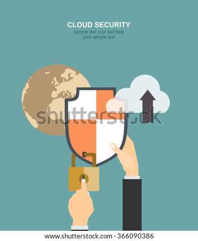 Online safety, data protection, secure connection, internet security infographic concept vector. Concept for web banner and promotional material. - stock vector