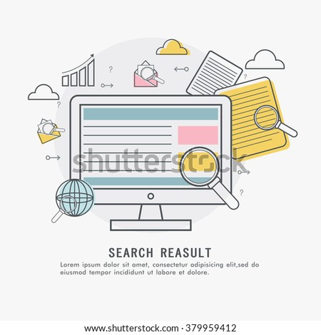 Online Search Result concept with colorful elements and digital device showing website marketing and promotions. - stock vector