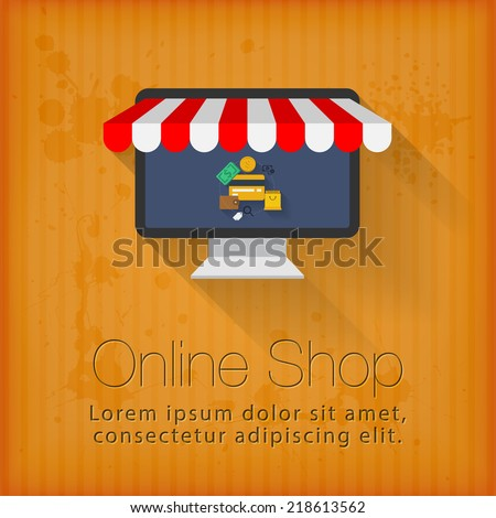Online shop concept design - stock vector
