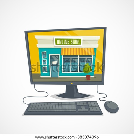 Online shop concept with computer / shop building, computer mouse and keyboard / vector cartoon illustration isolated on white - stock vector