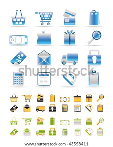 Online shop icons - vector  icon set. 3 Colors included.