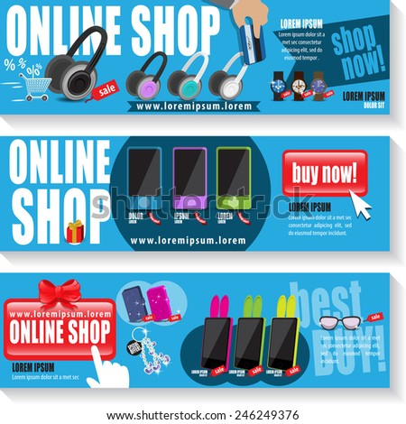 Online Shop Template Set - Vector Illustration, Graphic Design, Editable For Your Design  - stock vector