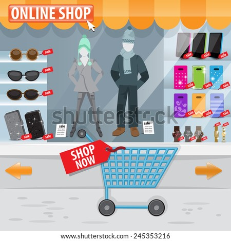 Online Shop Window - Vector Illustration, Graphic Design, Editable For Your Design - stock vector