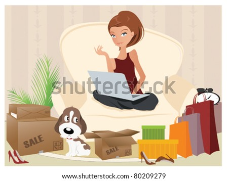 Online Shopper - stock vector