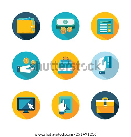 Online shopping and finance icon set - stock vector