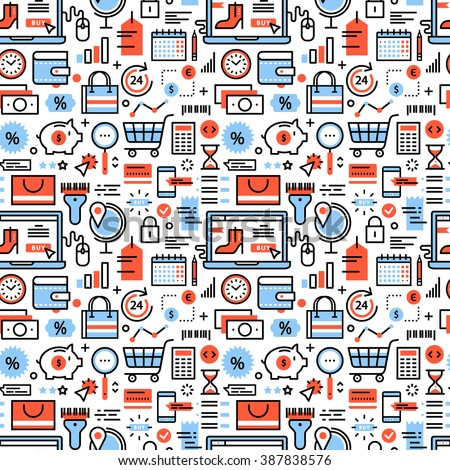 Online shopping and retail business icons square seamless pattern. For store sales decoration. Thin line art flat objects texture illustration. - stock vector
