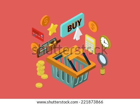 Online shopping cart flat 3d isometric design concept wallet payment order checkout credit card button buy vector web banners illustration print materials website click infographics element collection - stock vector