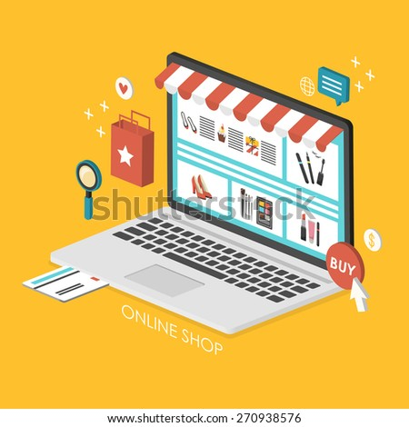 online shopping concept 3d isometric infographic with laptop showing website - stock vector
