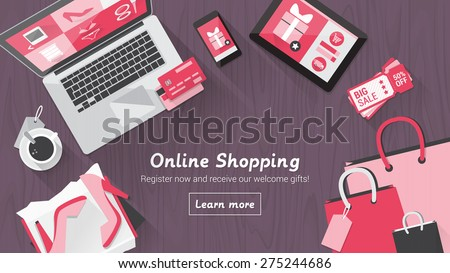 Online shopping concept desktop with computer, table, shopping bags, credit cards, coupons and products - stock vector