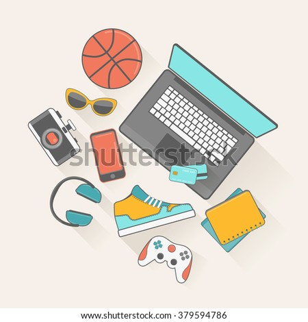 Online shopping concept. Vector illustration in flat style. - stock vector