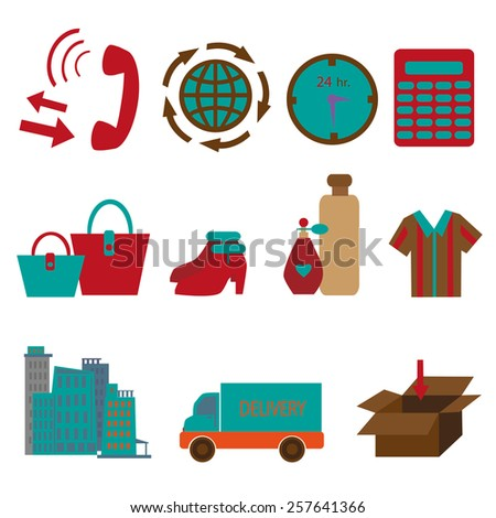 online shopping delivery and e-commerce icons set