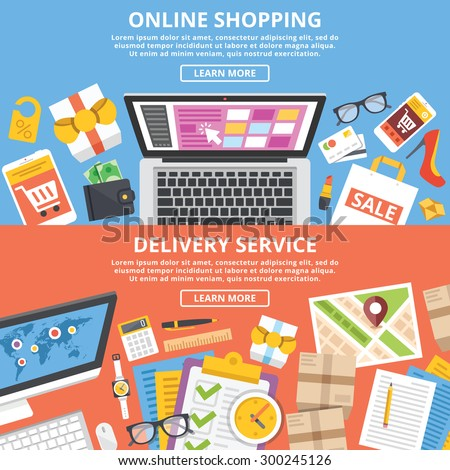 Online shopping, delivery service flat illustrations set. Top view. Modern abstract flat design concepts for web banners, web sites, printed materials, infographics. Creative vector illustration - stock vector